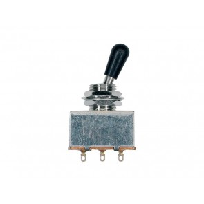 Toggle switch 3-way, nickel, block shape, black knob