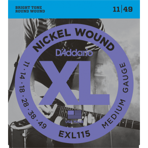 D'Addario XL Nickel Round Wound snarenset elektrisch, blues/jazz rock, 011-014-018-028-038-049 EXL115