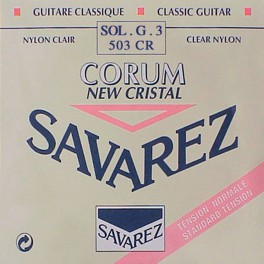Savarez G-3-snaar, New Cristal clear nylon, sluit aan bij 500-CRJ set, normal tension