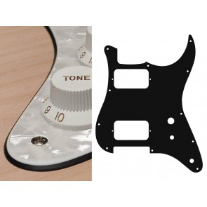 Pickguard Strat, 4 ply, pearl white, HH, 2 pot holes, toggle switch