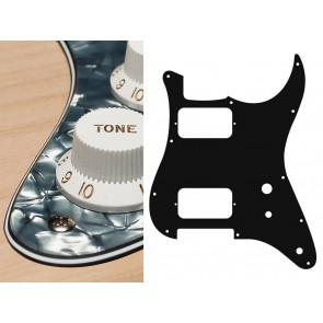 Pickguard Strat, 4 ply, pearl black, HH, 2 pot holes, toggle switch