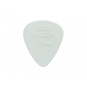 Dunlop Nylon Standard 0.38 mm. plectrums, nylon, wit, 12-pack