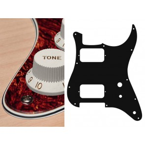 Pickguard Strat, 4 ply, tortoise medium, HH, 2 pot holes, toggle switch