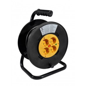 Power cable reel with 20 meters VDE cable 3x1,5m2, 4 sockets with circuit braker